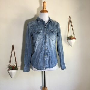 Madewell western jean button up shirt
